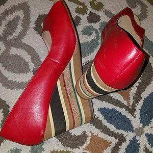 "Avon brand 4"" heels open toed pumps"